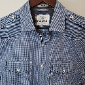 EXPRESS Short-Sleeved Slim Fit Blue Gingham Shirt